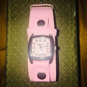 Pink Genuine Leather Fossil Watch